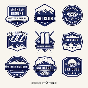 Collection de badges de ski
