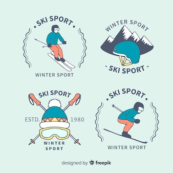 Collection de badges de sport de ski