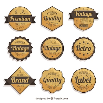 Collection de badges avec style vintage