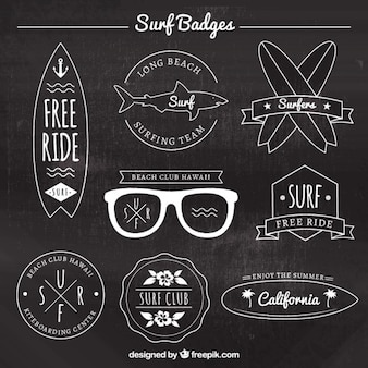 Collection de badges de surf élégant
