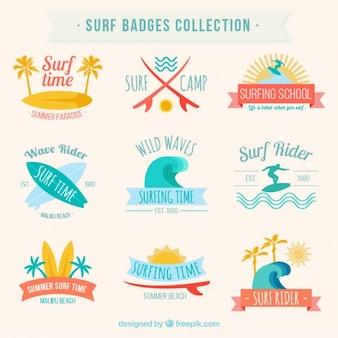 Collection de badges de surf