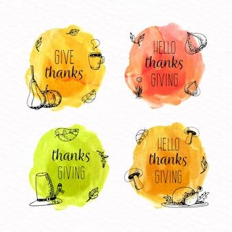 Collection de badges de thanksgiving à l'aquarelle