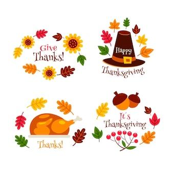 Collection de badges de thanksgiving au design plat