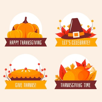 Collection de badges de thanksgiving au design plat