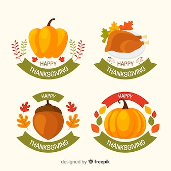 Collection de badges thanksgiving design plat