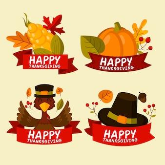 Collection de badges thanksgiving design plat