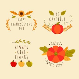 Collection de badges de thanksgiving design plat