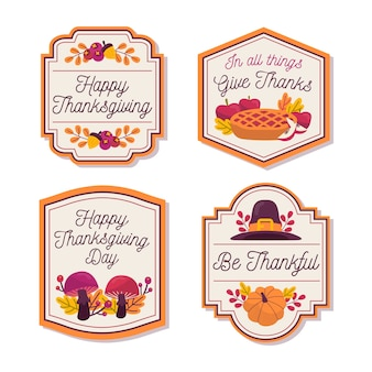 Collection de badges de thanksgiving dessinés à la main
