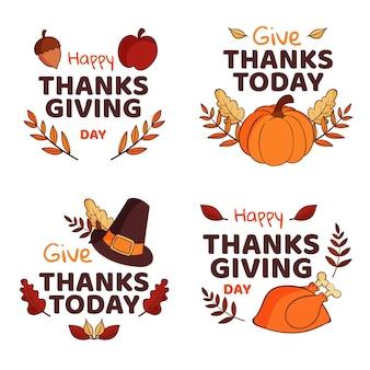 Collection de badges de thanksgiving dessinés à la main