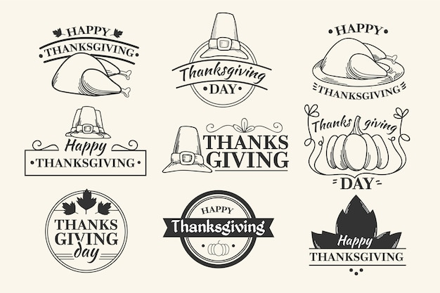 Collection de badges de thanksgiving vintage