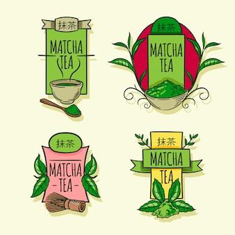 Collection de badges de thé matcha