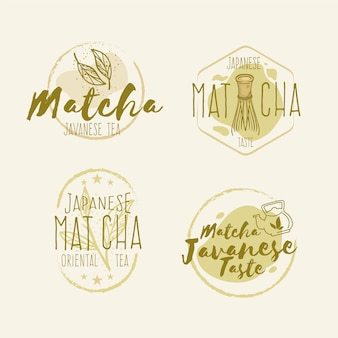 Collection de badges de thé matcha