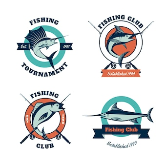 Collection de badges de tournoi de pêche