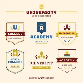 Collection de badges université dans un style élégant