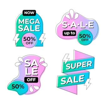 Collection de badges de vente design plat