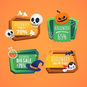 Collection de badges de vente halloween au design plat
