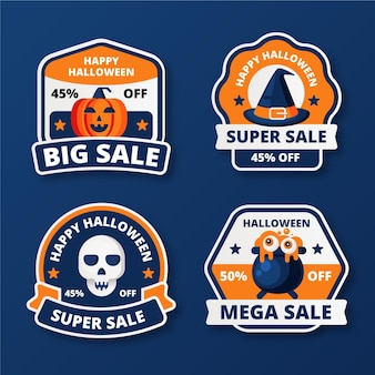 Collection de badges de vente halloween design plat