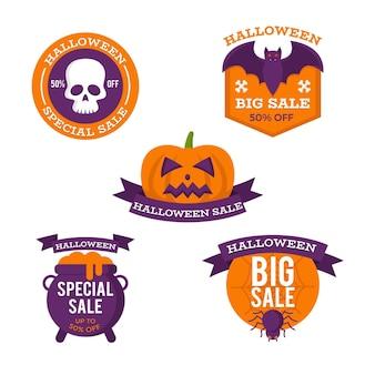 Collection de badges de vente halloween design plat