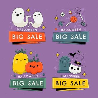 Collection de badges de vente halloween dessinés à la main