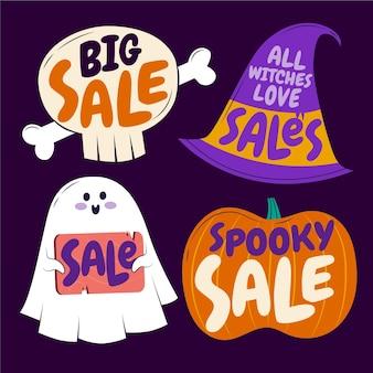 Collection de badges de vente halloween plats dessinés à la main