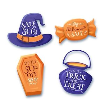 Collection de badges de vente halloween réalistes