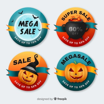 Collection de badges de vente halloween ronde