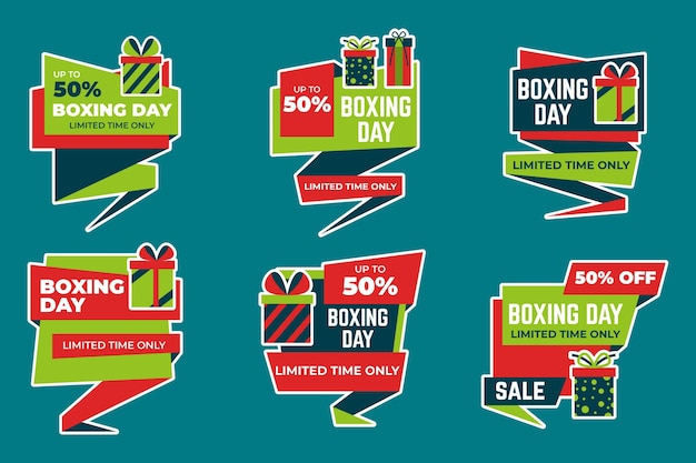 Collection de badges de vente de jour de boxe design plat
