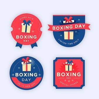 Collection de badges de vente de jour de boxe design plat