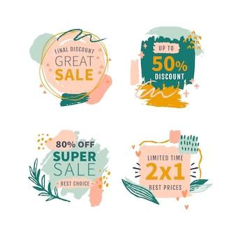 Collection de badges de vente peints à la main