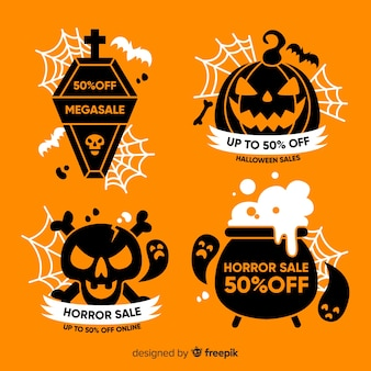 Collection de badges de vente plats halloween