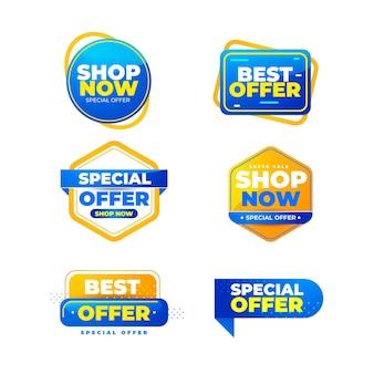 Collection de badges de vente réaliste