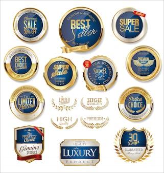Collection de badges de vente rétro doré