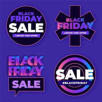 Collection de badges de vente de vendredi noir plat