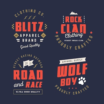 Collection de badges de vêtements rétro