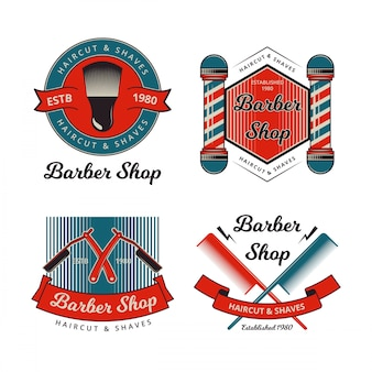 Collection de badges vintage barber shop
