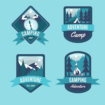 Collection de badges vintage camping & adventures