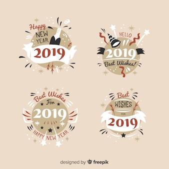 Collection de badges vintage du nouvel an