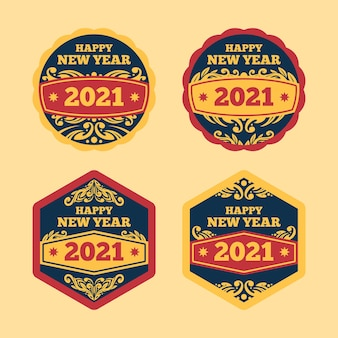 Collection de badges vintage nouvel an 2021