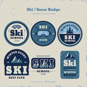 Collection de badges vintage ski et neige