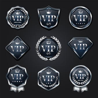 Collection de badges vip en argent platine