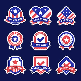 Collection de badges de vote usa