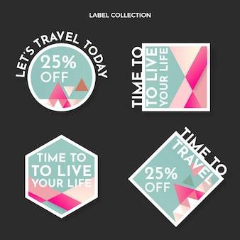 Collection de badges de voyage design plat