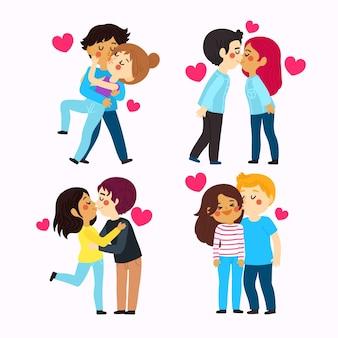 Collection de baisers de couples dessinés à la main