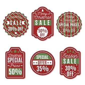 Collection de balises de vente de noël design plat