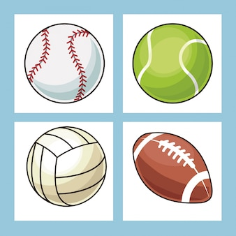 Collection balles icônes de sport
