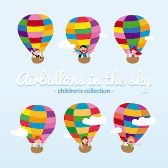 Collection de ballons drôles avec des enfants mignons à bord