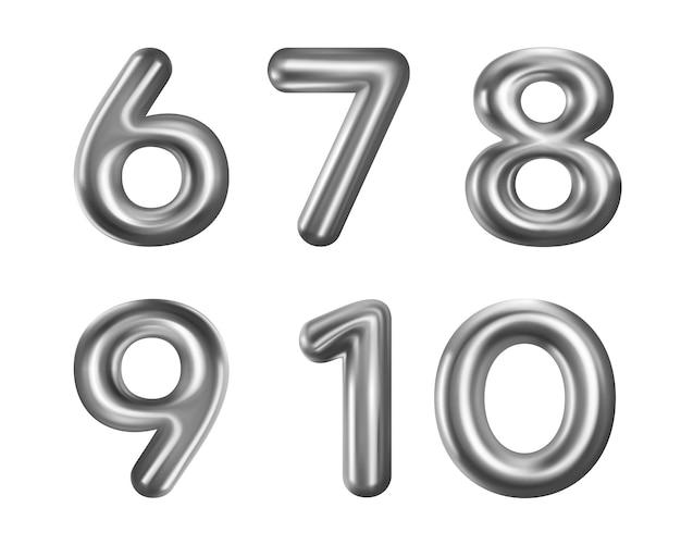 Collection de ballons numéro argent isolé sur blanc