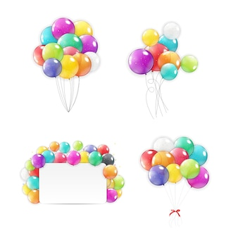 Collection de ballons de vacances définie des icônes.