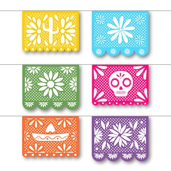 Collection de banderoles avec concept mexicain