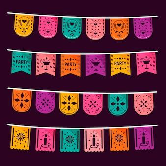 Collection de banderoles mexicaines colorées